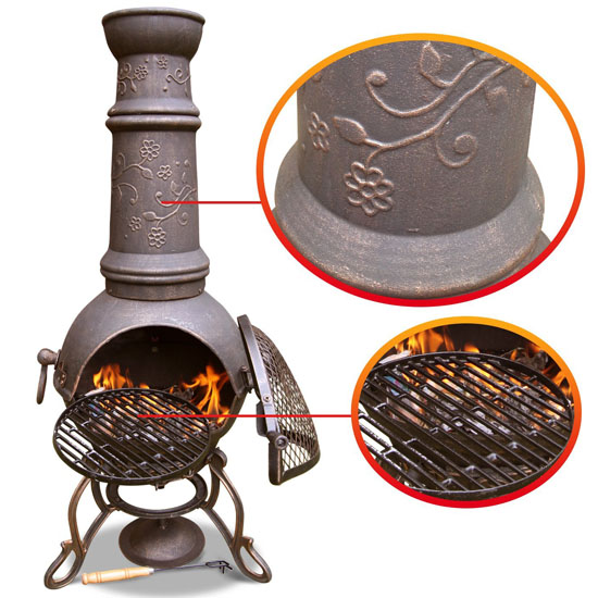 chiminea grill rack chiminea with grill rack stand outdoor bbq fireplace chiminea with. Black Bedroom Furniture Sets. Home Design Ideas